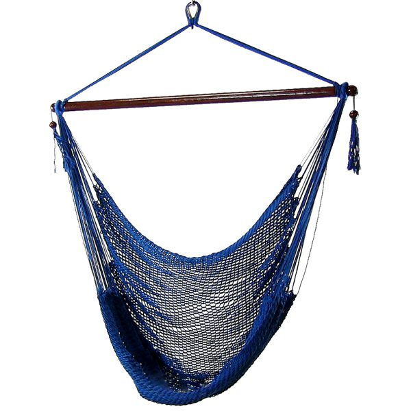 Sunnydaze Caribbean Extra Large Hammock Chair, Soft-Spun Polyester Rope, 40 Inch Wide Seat, Blue