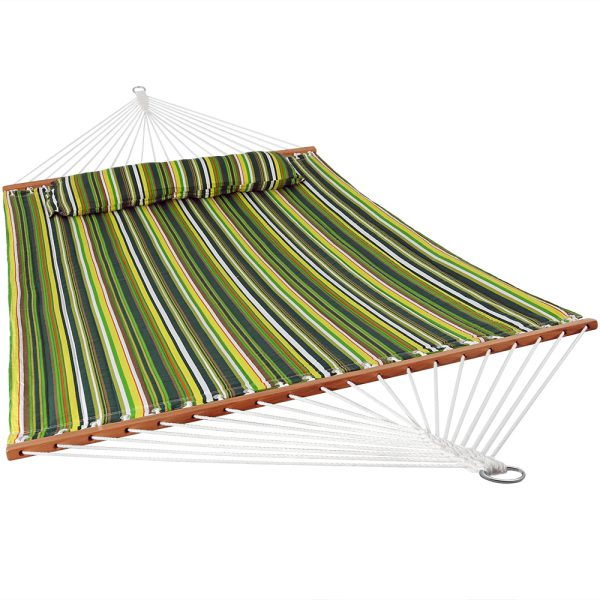 Sunnydaze 2 Person Quilted Fabric Spreader Bar Hammock & Pillow - Melon Stripe