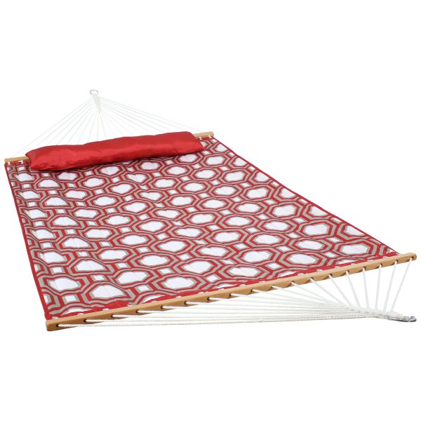 Quilted Double Fabric Hammock with Spreader Bars - Red and Gray Octagon