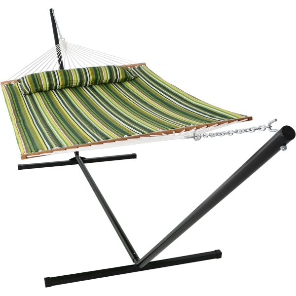 Sunnydaze 2 Person Freestanding Quilted Fabric Spreader Bar Hammock, Choose From 12 or 15 Foot Stand,  Melon Stripe, 15-Foot Stand