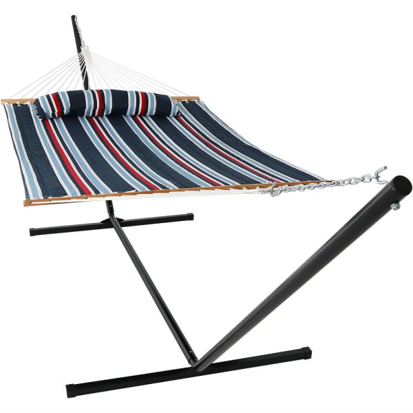 Sunnydaze 2 Person Freestanding Quilted Fabric Spreader Bar Hammock, Choose from 12 or 15 Foot Stand, Nautical Stripe, 15-Foot Stand