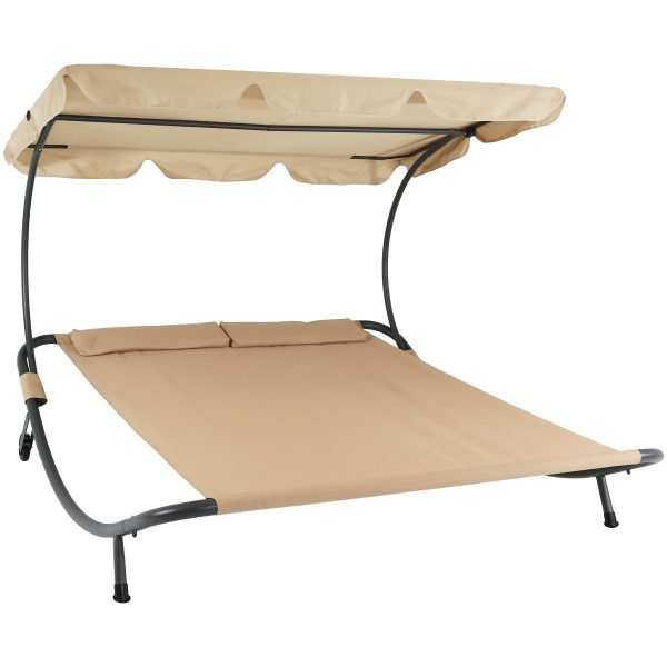 Sunnydaze Double Modern Outdoor Bed with Canopy and Pillows - Beige