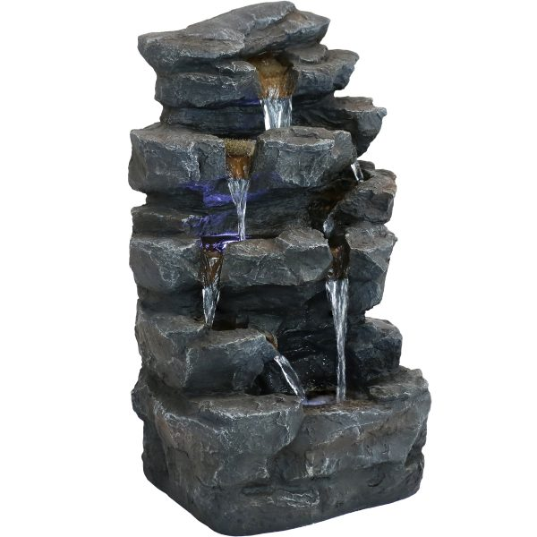 Sunnydaze Grotto Falls Water Fountain with LED Lights - 24-Inch