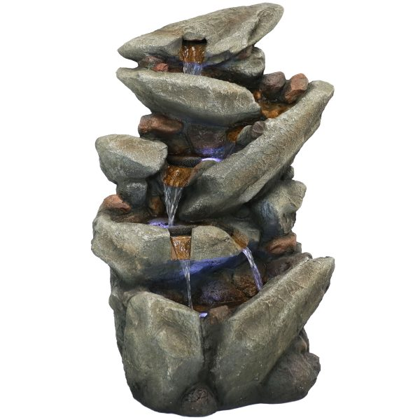 Sunnydaze Streaming Tilted Rocks Outdoor Water Fountain with LEDs - 31-Inch