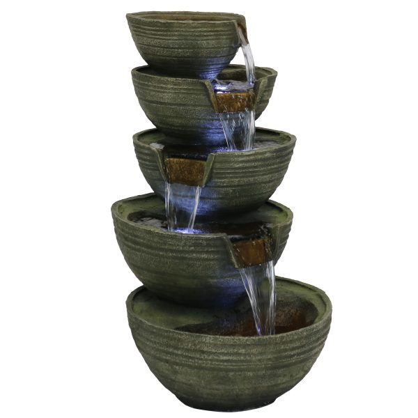 Sunnydaze Flowing Tiered Artisan Bowls Outdoor Fountain with LEDs - 33-Inch