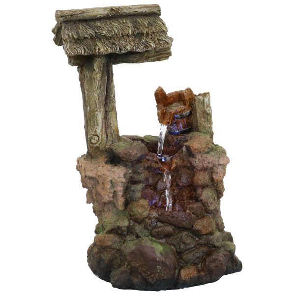 Sunnydaze Mossy Country Well Indoor Tabletop Water Fountain with LEDs - 14-Inch