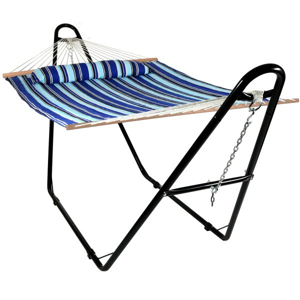 Sunnydaze Quilted 2 Person Hammock with Universal Steel Stand - Catalina Beach