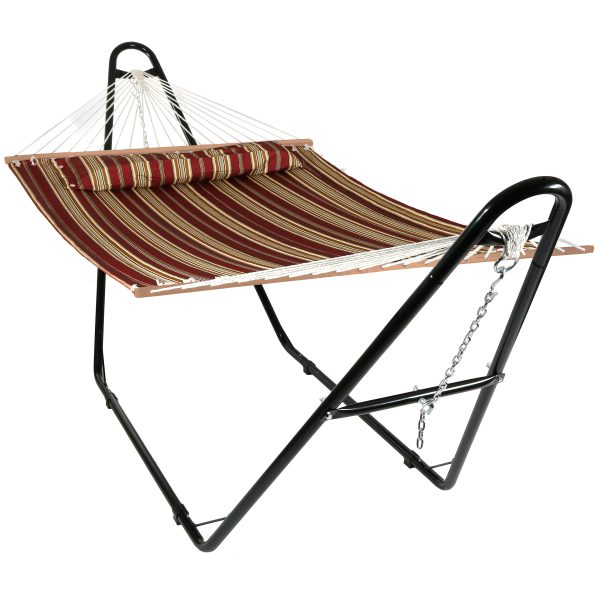 Sunnydaze Quilted 2 Person Hammock with Universal Steel Stand - Red Stripe