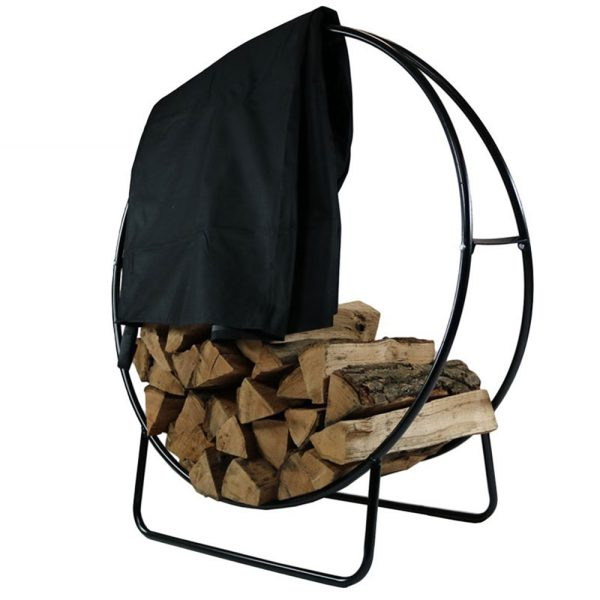Sunnydaze Steel Firewood Log Hoop, Size and Color Options Available, Black, 48-Inch, Hoop and Cover Combo