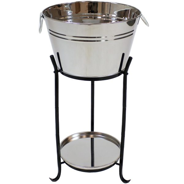 Sunnydaze Ice Bucket Drink Cooler with Stand and Tray - Stainless Steel