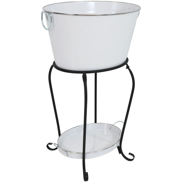 Sunnydaze Large Ice Bucket Beverage Holder with Stand and Tray - White Finish