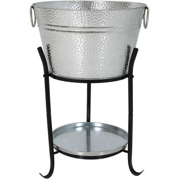 Sunnydaze Ice Bucket Drink Cooler with Stand and Tray - Pebbled Galvanized Steel