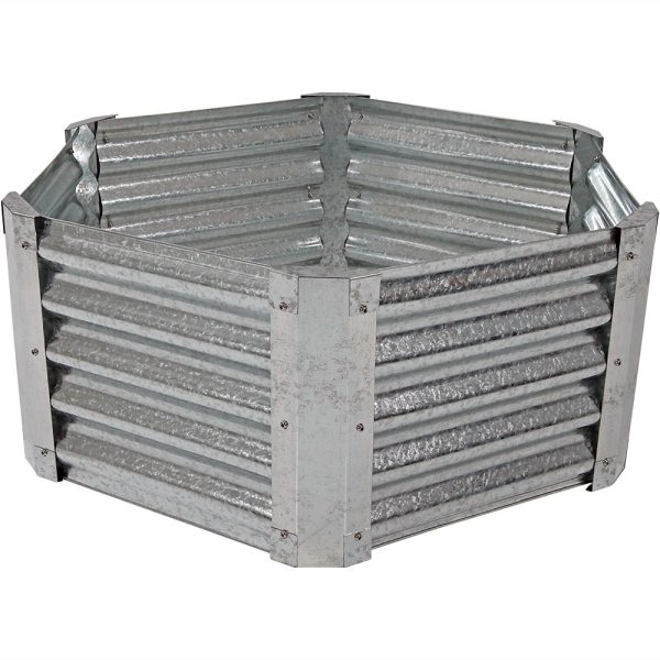 Sunnydaze Galvanized Steel Raised Garden Bed Kit, Hexagon