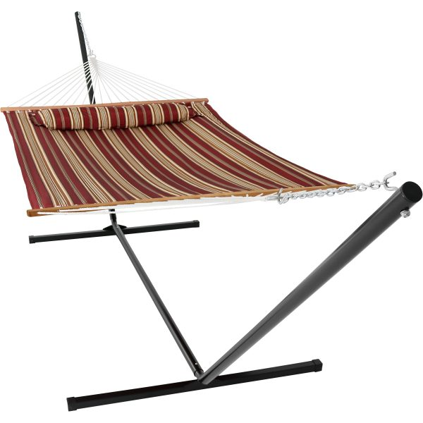 Sunnydaze 2 Person Freestanding Quilted Fabric Spreader Bar Hammock, Choose from 12 or 15 Foot Stand, Red Stripe, 15-Foot Stand