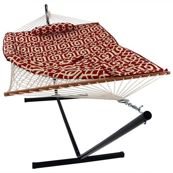 Sunnydaze Cotton Rope Hammock with 12 Foot Steel Stand, Pad and Pillow, 275 Pound Capacity, Royal Red