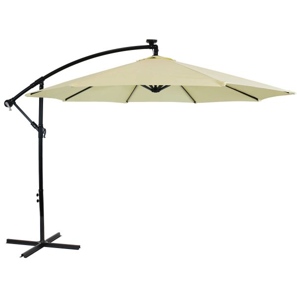 Sunnydaze Offset Patio Umbrella with Solar LED Lights - 9-Foot - Pale Buttercup