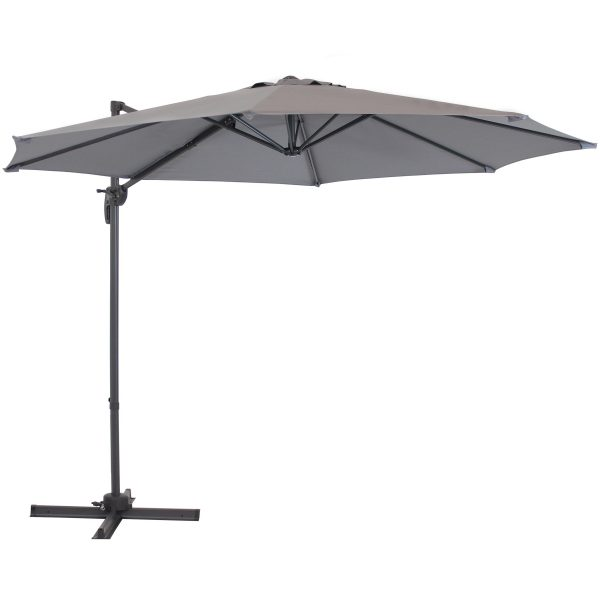 Sunnydaze Offset Cantilever Patio Umbrella - 360-Degree Rotation - Smoke