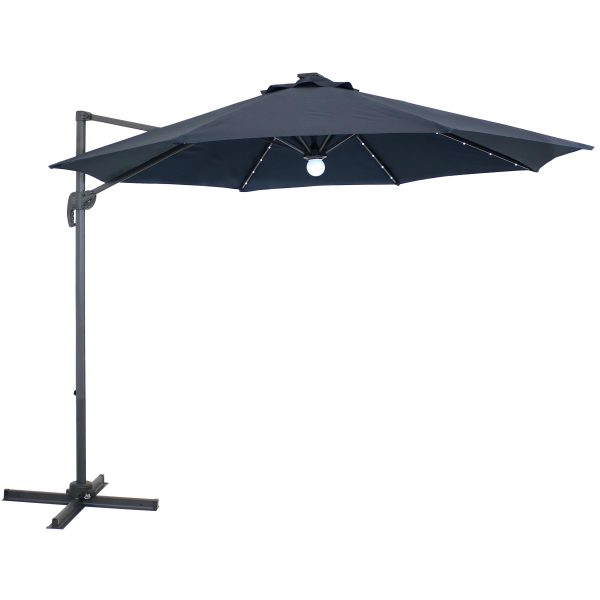 Sunnydaze Offset Solar LED Patio Umbrella - 360-Degree Rotation - Navy Blue