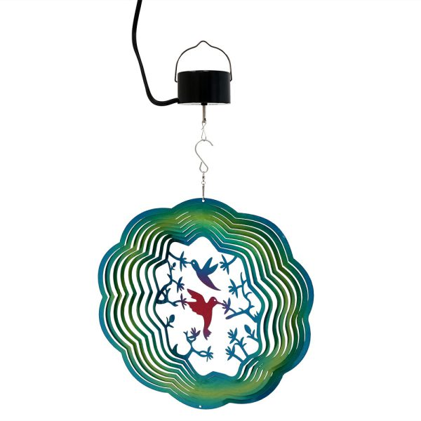 Sunnydaze Turquoise Hummingbird Wind Spinner with Hook, 12-Inch, Yes, Corded Electric Motor