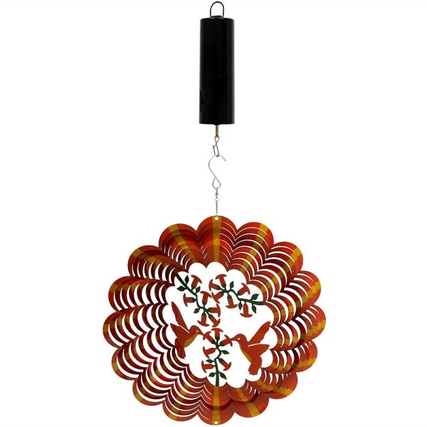 Sunnydaze Orange Hummingbird Wind Spinner with Hook, 12-Inch, Yes, Battery Operated Motor