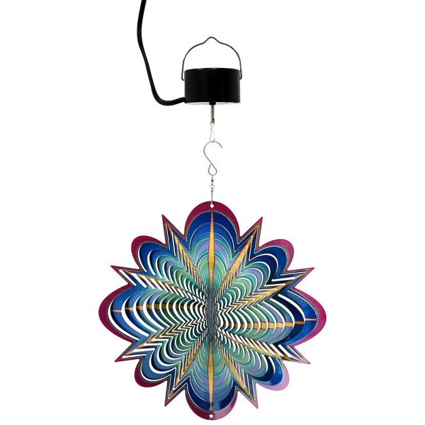 Sunnydaze 3D Blue Dream Wind Spinner with Hook, 12-Inch, Yes, Corded Electric Motor