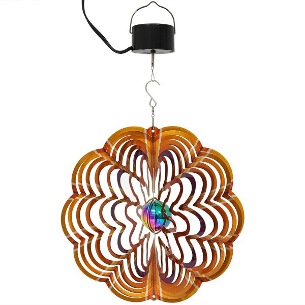 Sunnydaze Gold Dust 3D Whirligig Wind Spinner with Hook, 12-Inch, Yes, Corded Electric Motor