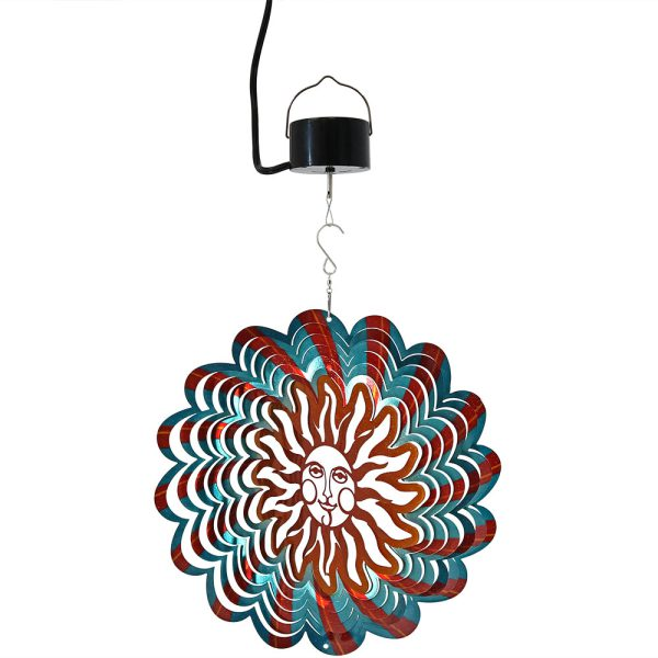 Sunnydaze 3D Multi-Color Sun Wind Spinner with Hook, 12-Inch, Yes, Corded Electric Motor