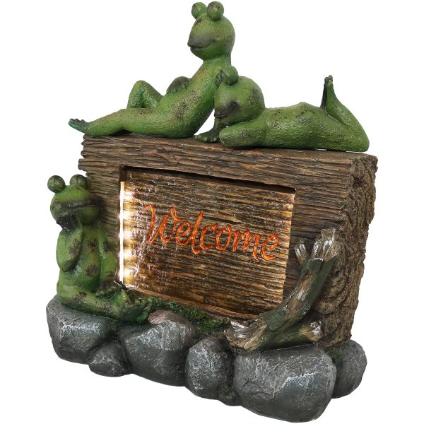 Sunnydaze Welcoming Frogs Garden Water Fountain Decor with LED Lights - 22-Inch