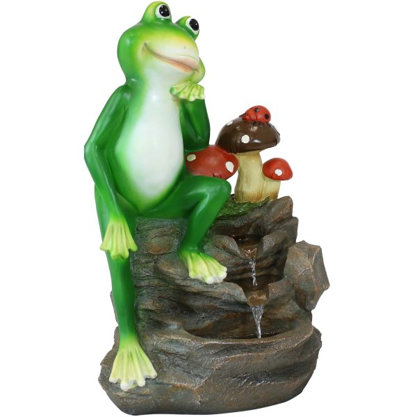 Sunnydaze Mindful Frog Outdoor Water Fountain - 23-Inch