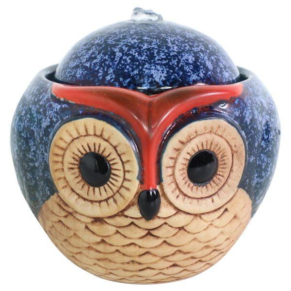 Sunnydaze Ceramic Owl Indoor Tabletop Water Fountain - 6-Inch