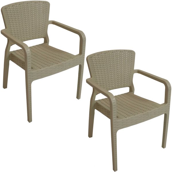 Sunnydaze Segonia Plastic Stacking Arm Chair Set of 2 - Indoor - Outdoor - Coffee