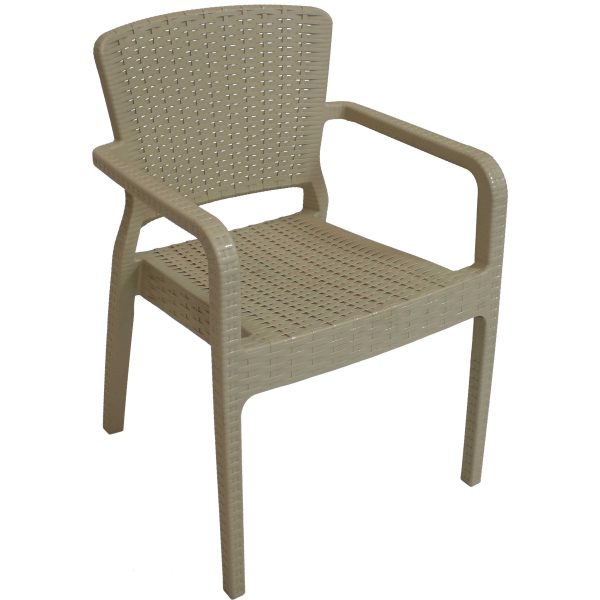 Sunnydaze Segonia Plastic Stackable Arm Chair - Indoor or Outdoor - Coffee