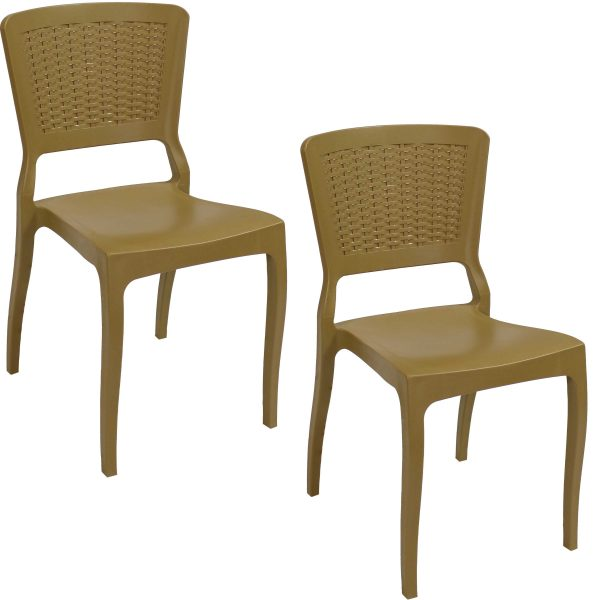 Sunnydaze All-Weather Hewitt Plastic Patio Dining Chair - Set of 2 - Wood Brown