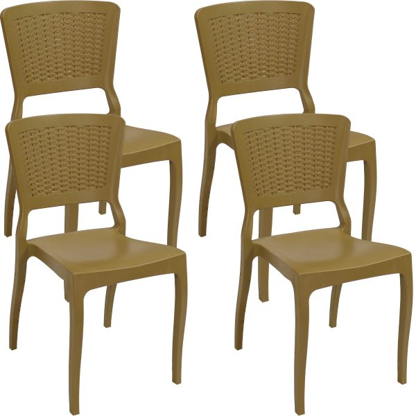 Sunnydaze All-Weather Hewitt Plastic Patio Dining Chair - Set of 4 - Wood Brown