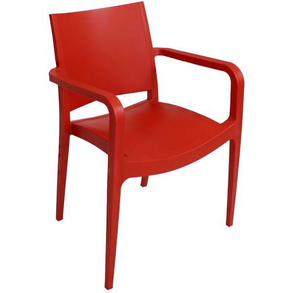Sunnydaze Landon Indoor Outdoor Plastic Dining Armchair - Red - 1 Chair