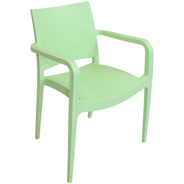 Sunnydaze Landon Indoor Outdoor Plastic Dining Armchair - Light Green - 1 Chair