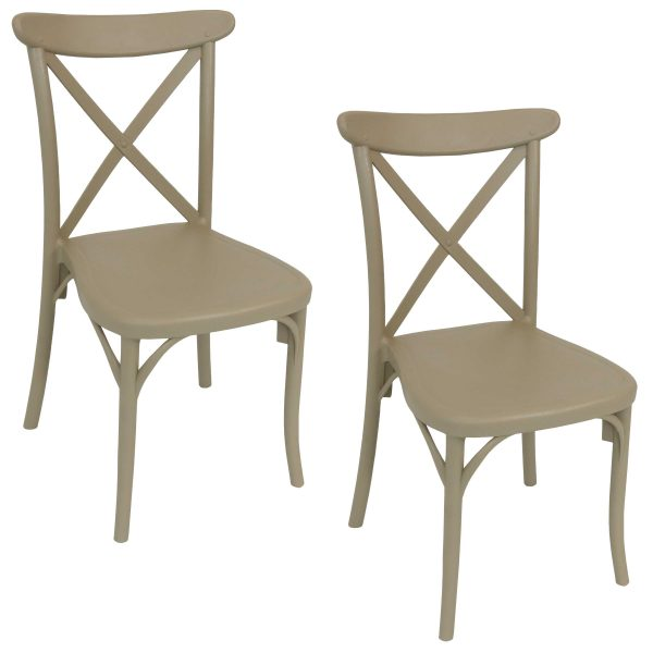 Sunnydaze Bellemead Indoor Outdoor Plastic Patio Dining Chair - Coffee - 2-Pack