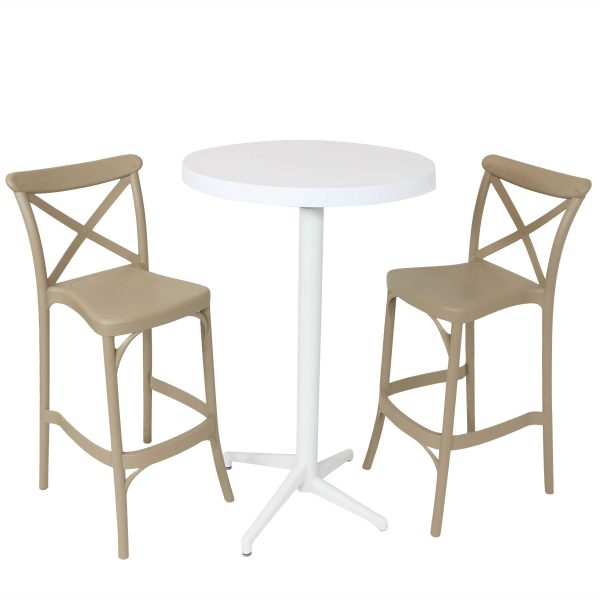 Sunnydaze All-Weather Fleming 3-Piece Indoor/Outdoor Pub Table and Barstool Set