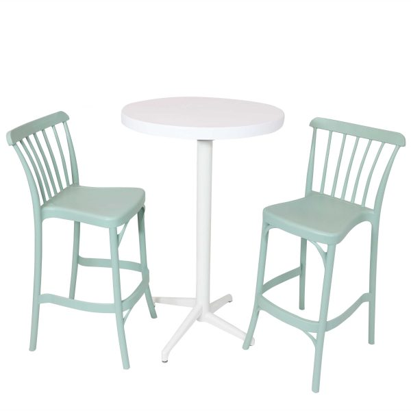 Sunnydaze All-Weather Woodway 3-Piece Indoor/Outdoor Pub Table and Barstool Set