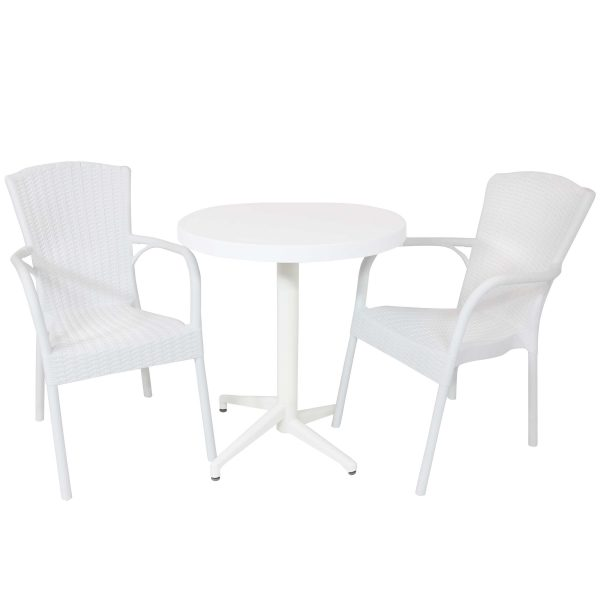 Sunnydaze All-Weather Segesta 3-Piece Indoor/Outdoor Table and Chairs - White