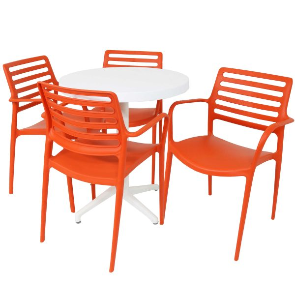 Sunnydaze All-Weather Astana 5-Piece Indoor/Outdoor Table and Chairs - Orange