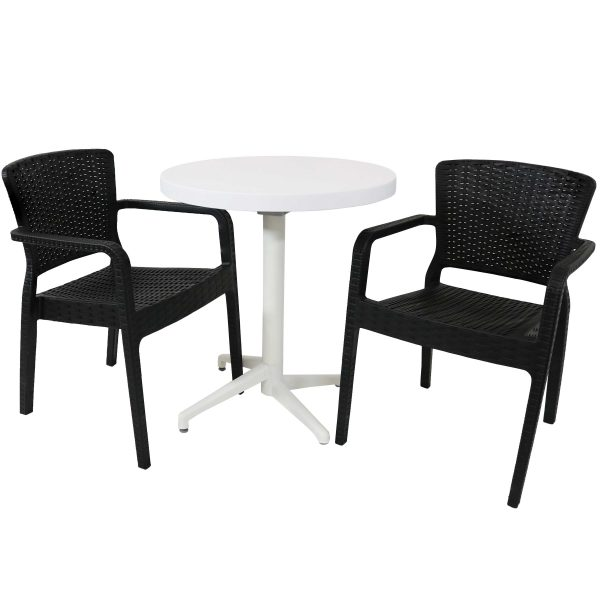Sunnydaze All-Weather Segonia 3-Piece Indoor/Outdoor Table and Chairs - Black