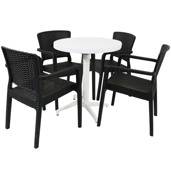 Sunnydaze All-Weather Segonia 5-Piece Indoor/Outdoor Table and Chairs - Black