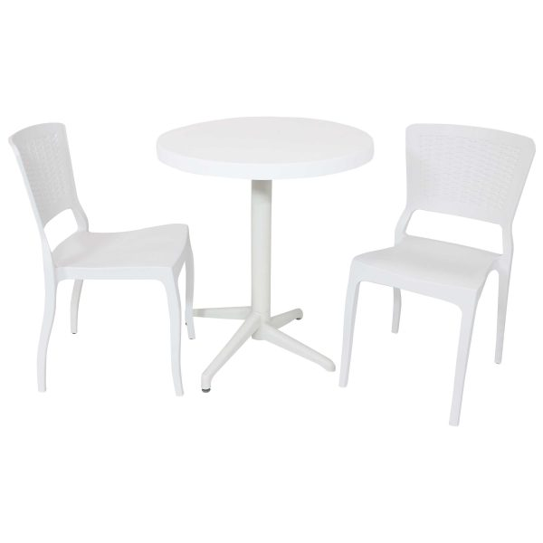 Sunnydaze All-Weather Hewitt 3-Piece Indoor/Outdoor Table and Chairs - White