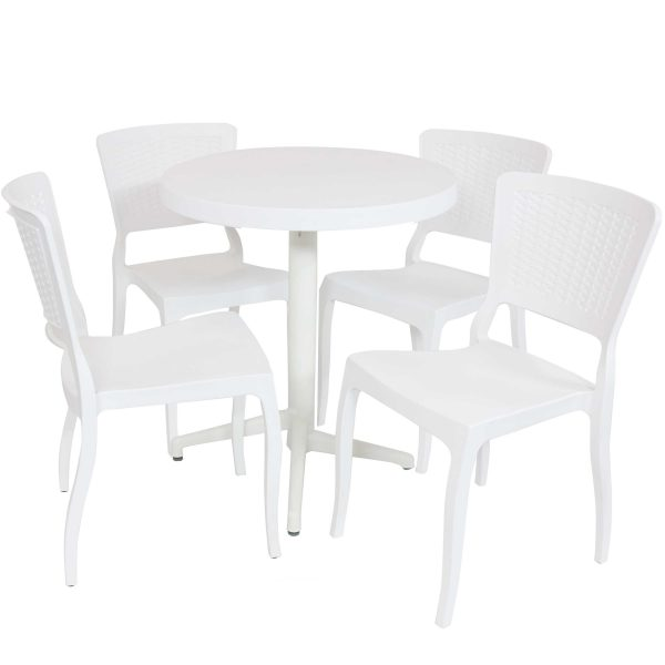 Sunnydaze All-Weather Hewitt 5-Piece Indoor/Outdoor Table and Chairs - White