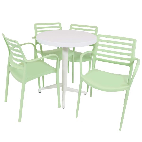 Sunnydaze All-Weather Astana 5-Piece Indoor/Outdoor Table and Chairs - Green
