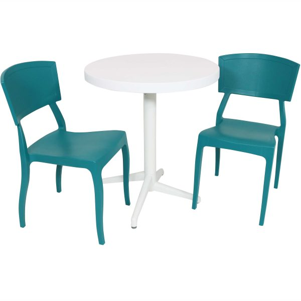Sunnydaze All-Weather Elmott 3-Piece Indoor/Outdoor Table and Chair Set - Green