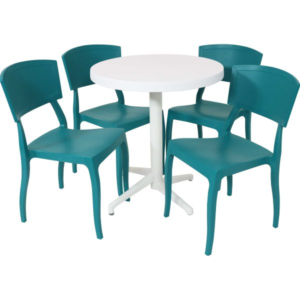Sunnydaze All-Weather Elmott 5-Piece Indoor/Outdoor Table and Chair Set - Green