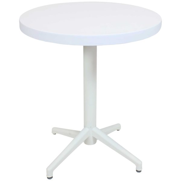 Sunnydaze Indoor/Outdoor All-Weather Round Foldable Table - Plastic - White