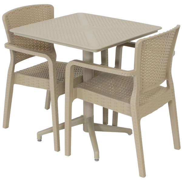 Sunnydaze All-Weather Segonia 3-Piece Indoor/Outdoor Table and Chairs - Coffee
